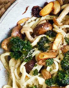 Pasta met truffel en champignons