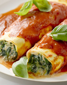 Canneloni gevuld met ricotta en spinazie